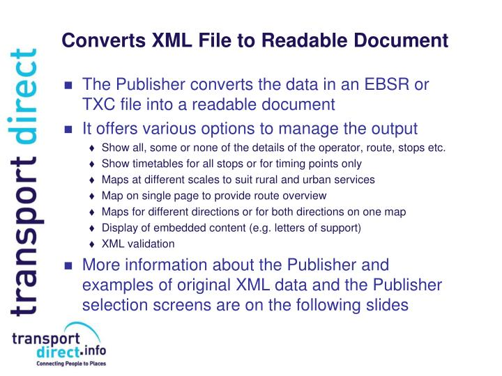 Converts XML File to Readable Document
