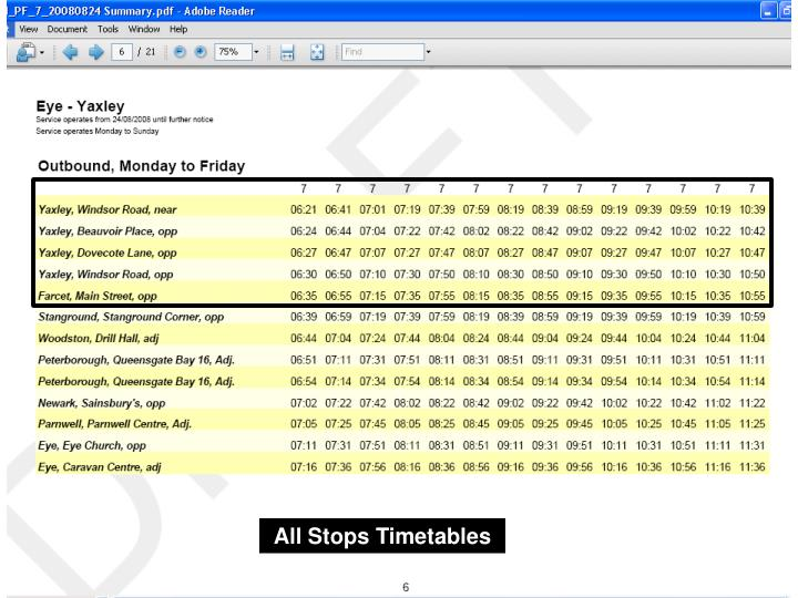 All Stops Timetables