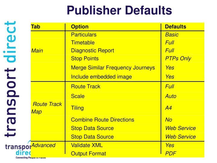 Publisher Defaults