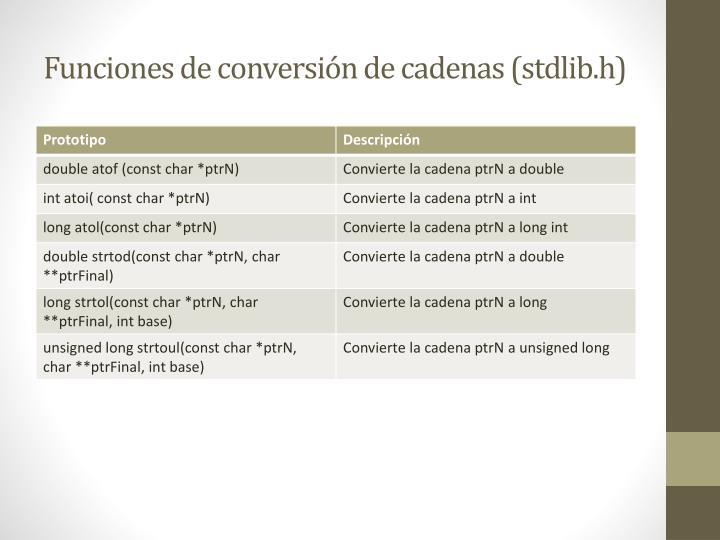 Funciones de conversión de cadenas (