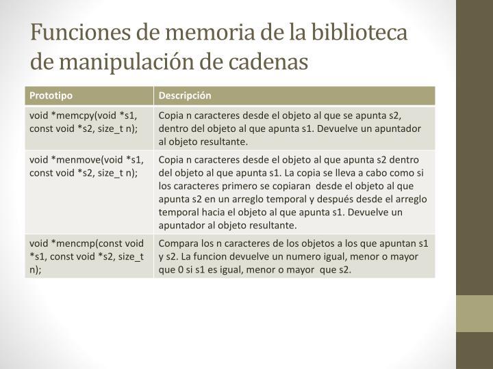 Funciones de memoria de la biblioteca de manipulación de cadenas