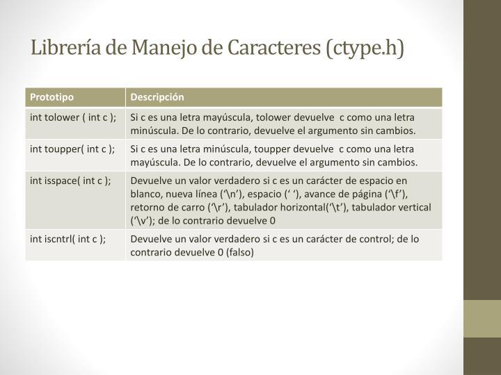 Librería de Manejo de Caracteres (