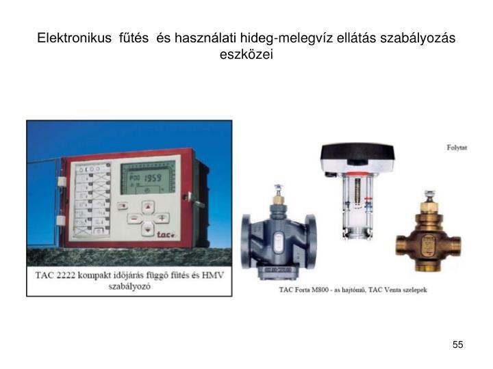 Elektronikus  fűtés  és használati hideg-melegvíz ellátás szabályozás eszközei
