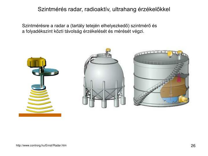 Szintmérés radar, radioaktív, ultrahang érzékelőkkel