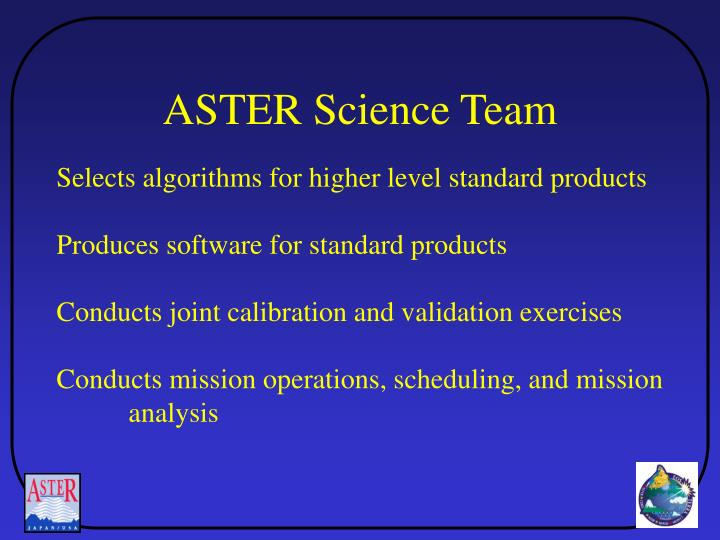 ASTER Science Team
