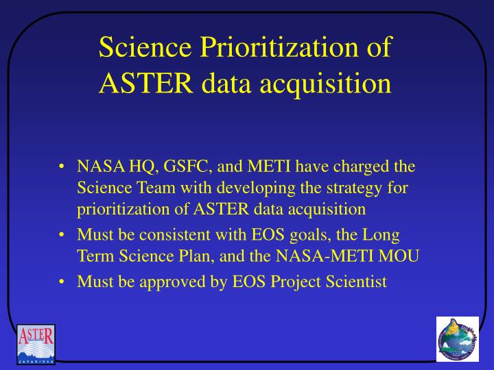 Science Prioritization of