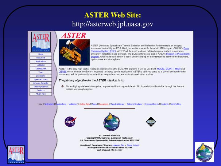 ASTER Web Site:
