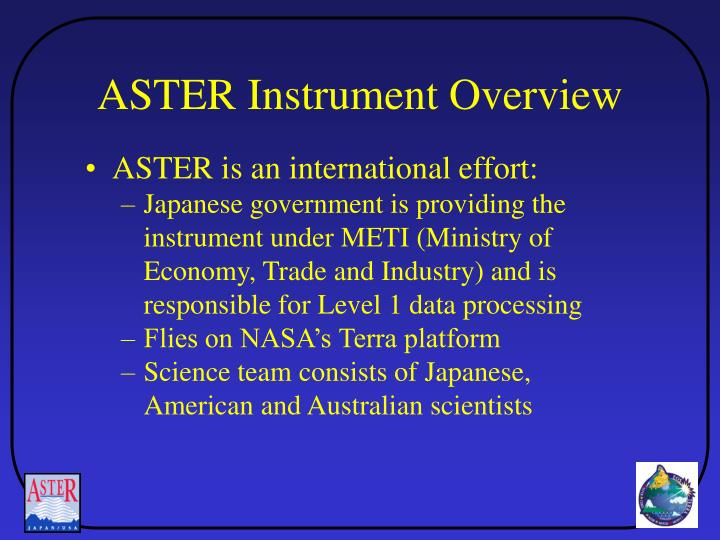 ASTER Instrument Overview