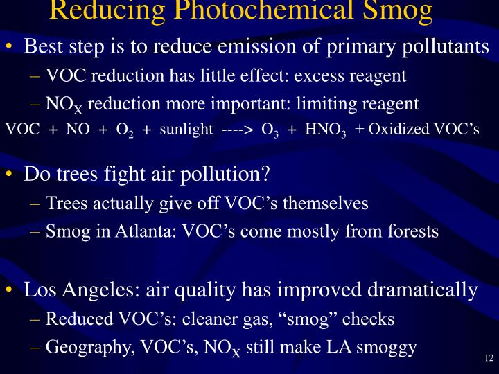 Reducing Photochemical Smog