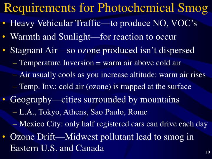 Requirements for Photochemical Smog