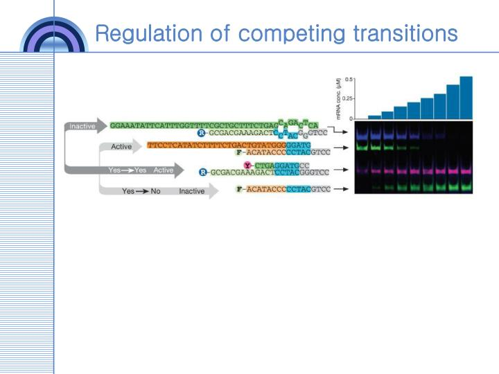 Regulation of competing transitions