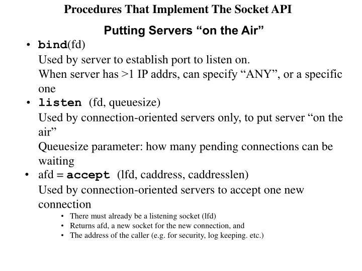 Procedures That Implement The Socket API