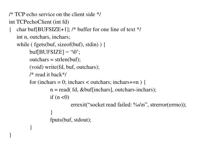 /* TCP echo service on the client side */