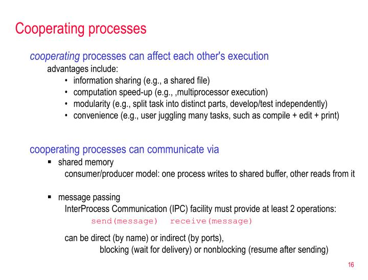Cooperating processes
