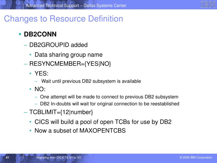 Changes to Resource Definition