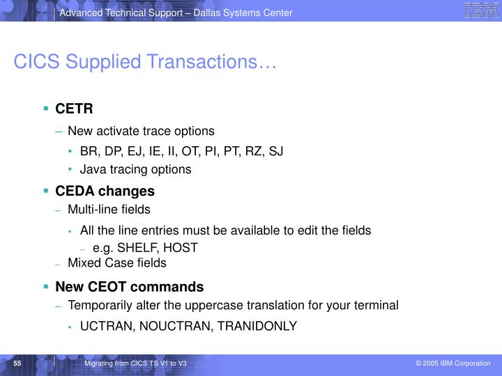 CICS Supplied Transactions…