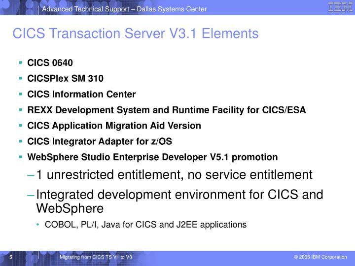 CICS Transaction Server V3.1 Elements