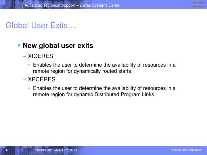 Global User Exits…