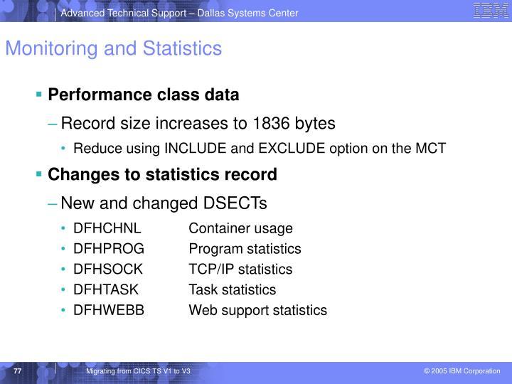 Monitoring and Statistics