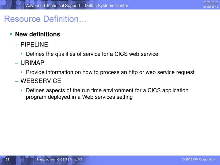 Resource Definition…