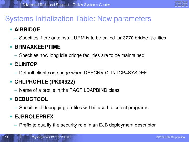 Systems Initialization Table: New parameters