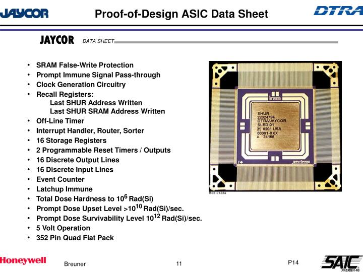 Proof-of-Design ASIC Data Sheet
