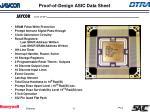 proof of design asic data sheet