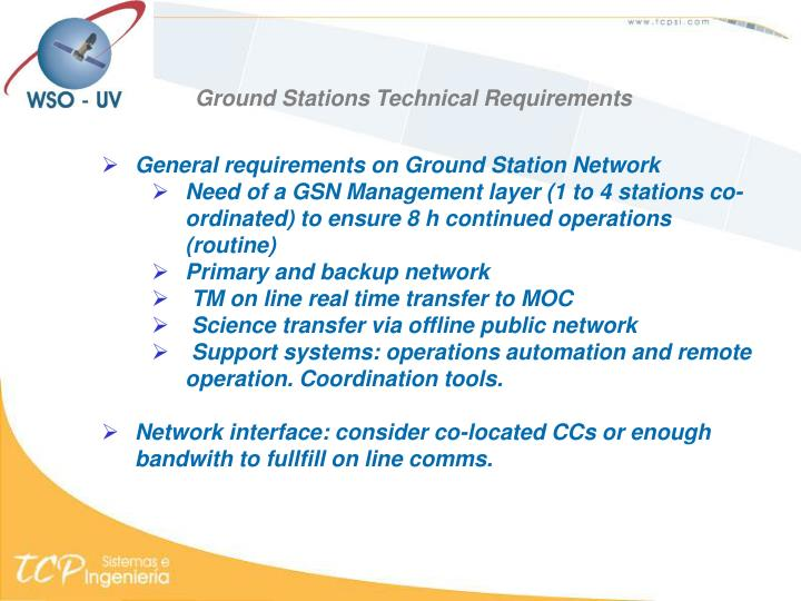 Ground Stations Technical Requirements