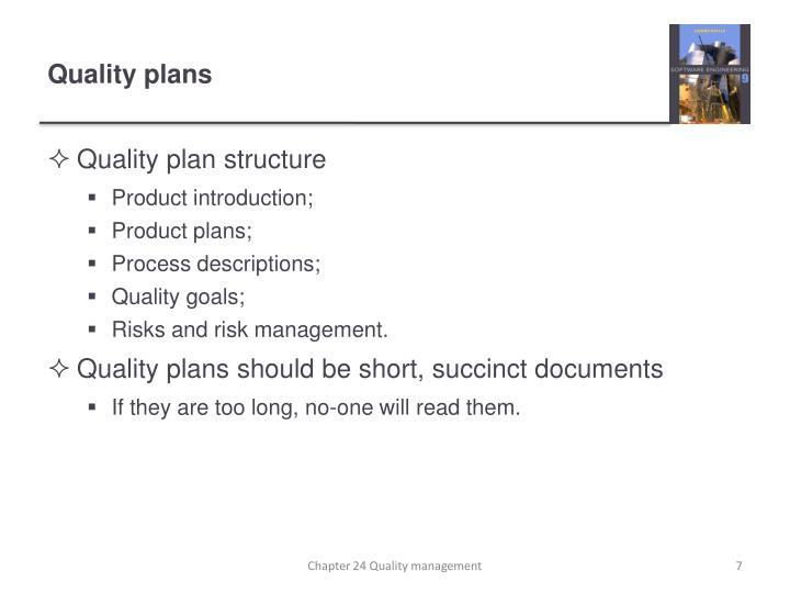 Quality plans