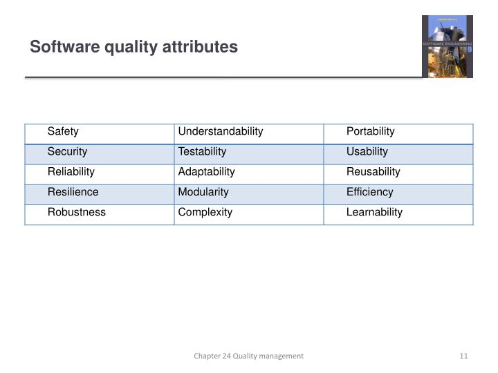 Software quality attributes