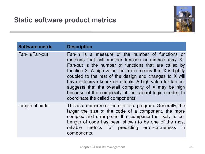 Static software product metrics