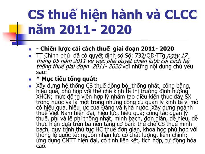 CS thuế hiện hành và CLCC  năm 2011- 2020