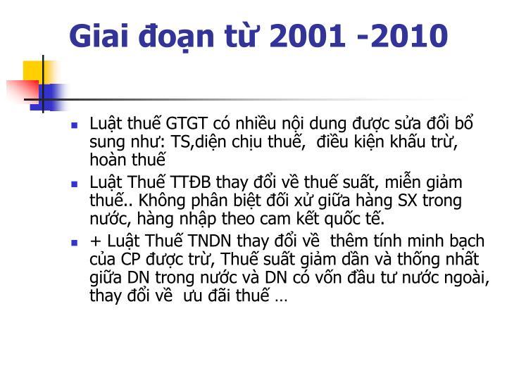 Giai đoạn từ 2001 -2010