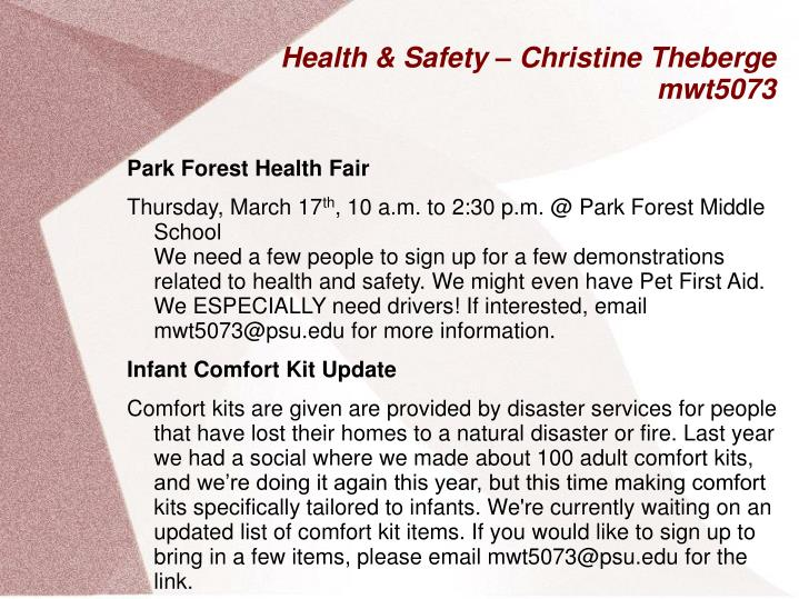Health & Safety – Christine Theberge