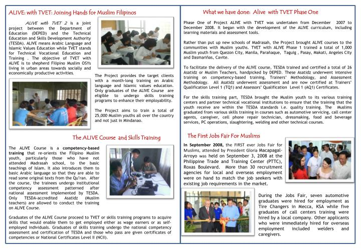 What we have done:  Alive  with TVET Phase One