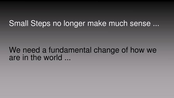 Small Steps no longer make much sense ...