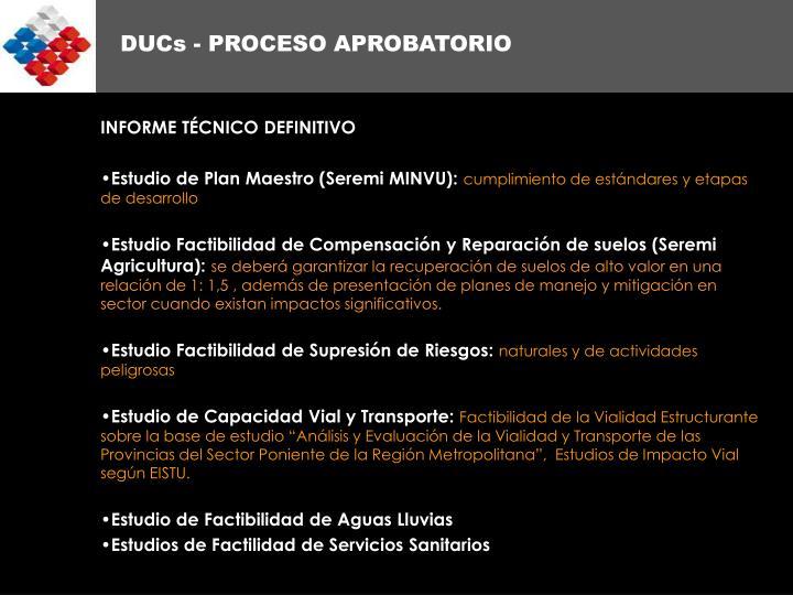 DUCs - PROCESO APROBATORIO