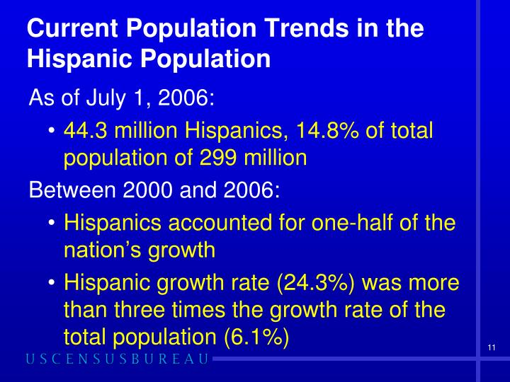 Current Population Trends in the Hispanic Population
