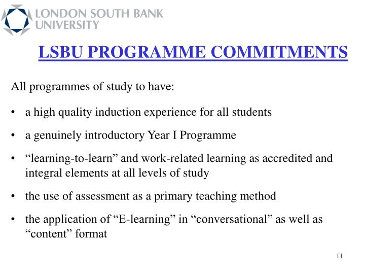 LSBU PROGRAMME COMMITMENTS