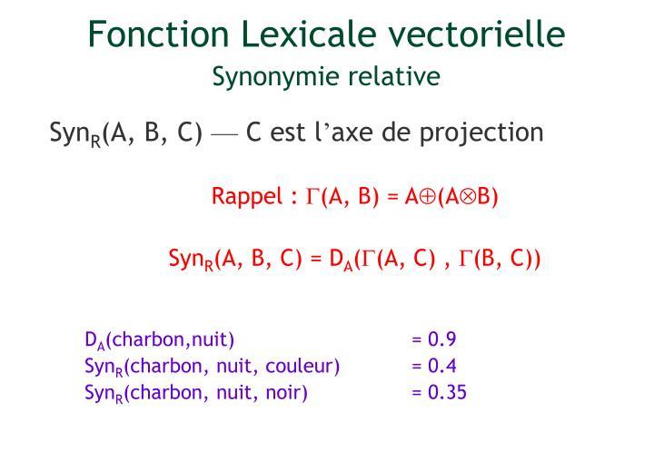 Fonction Lexicale vectorielle