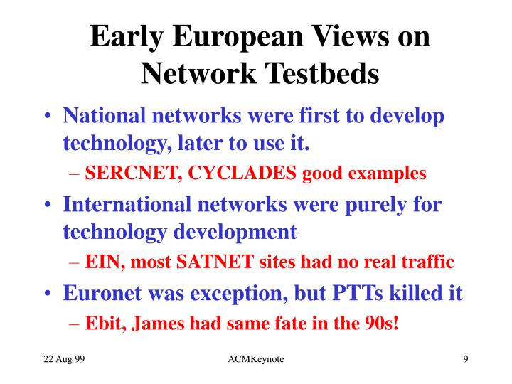 Early European Views on Network Testbeds