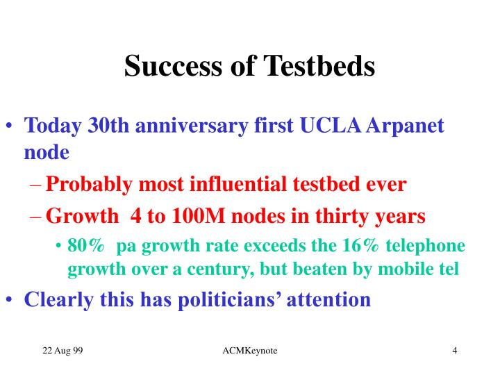 Success of Testbeds