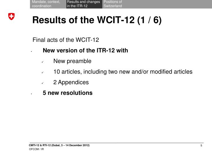 Results of the wcit 12 1 6