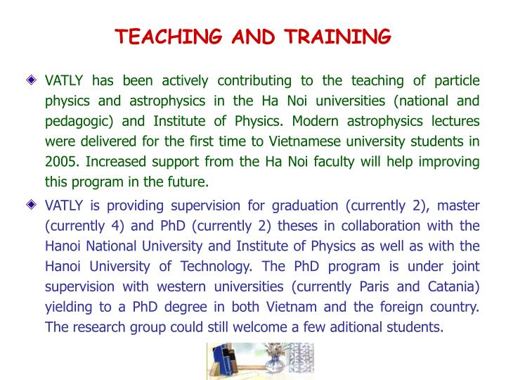 TEACHING AND TRAINING