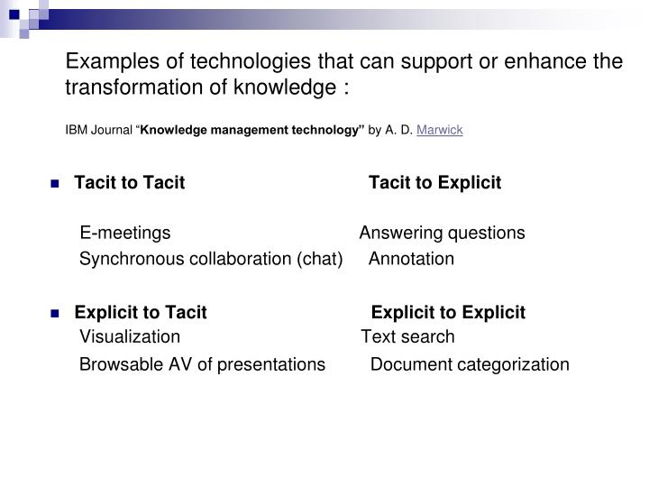 Examples of technologies that can support or enhance the transformation of knowledge