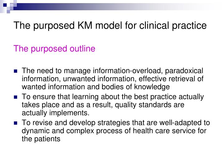 The purposed KM model for clinical practice
