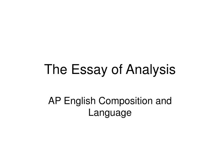 Analysis by division essay