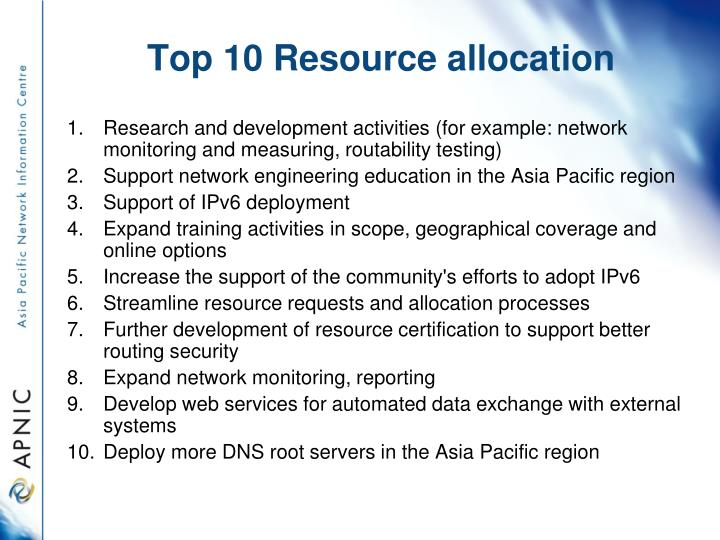Top 10 Resource allocation