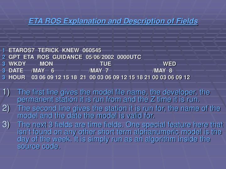 ETA ROS Explanation and Description of Fields