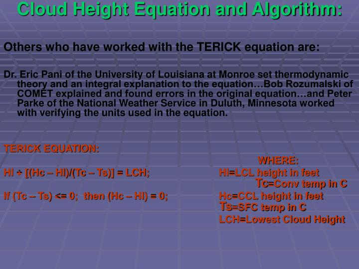 Cloud Height Equation and Algorithm: